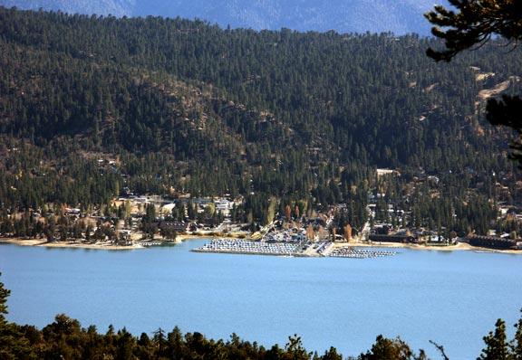 A close up view of Big Bear Village looking across the lake from the top of the Cougar Crest trail.