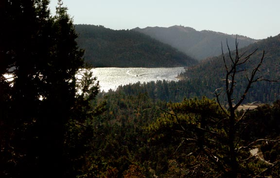 A view of Big Bear Lake, looking west towards the dam.