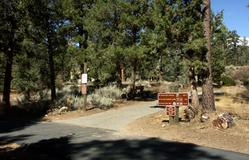 The junction of the Big Bear bike path and the Cougar Crest trail. Highway 18 is in the back ground at the right.