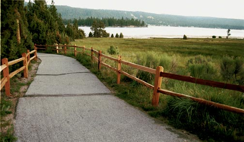 Late afternoon view of the Bike Path and Big Bear Lake from the bridge at Juniper Point.