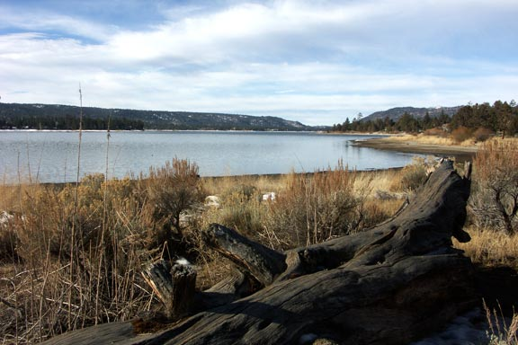 There's still a little snow on the ground in this very early spring view of Big Bear Lake. © Rick Keppler