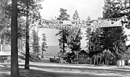 The Rim Of The World Highway entered Big Bear Valley at Fawnskin which in the early 1920's was rapidly growing into a major population center. - Rick Keppler collection.