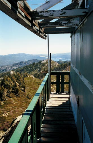 View of Big Bear Lake in the distance from the Butler Peak fire lookout tower. © Rick Keppler.