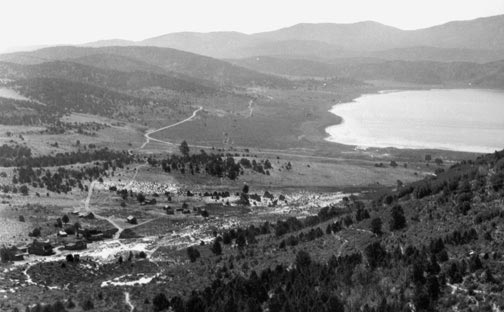 If you look at the lower left corner of this photo of Baldwin Lake, you will see a hand full of buildings still left in the old ghost town of Bairdstown. - Rick Keppler collection