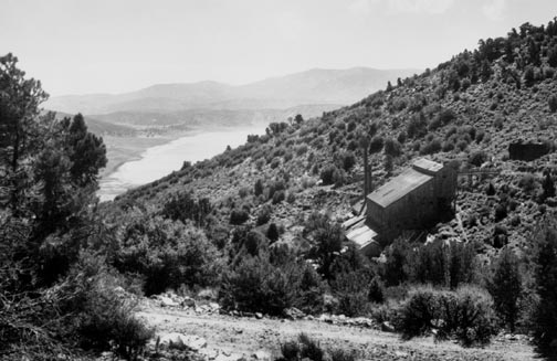 The Lucky Baldwin stamp mill on the side of Gold Mountain as it looked in the 1920's.  Baldwin Lake can be seen in the background. - Rick Keppler collection.