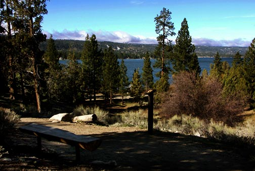 The bench at Post #14 is a great place to just sit and enjoy a view of Big Bear Lake. - © Rick Keppler.