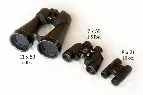 Binoculars come in many sizes.